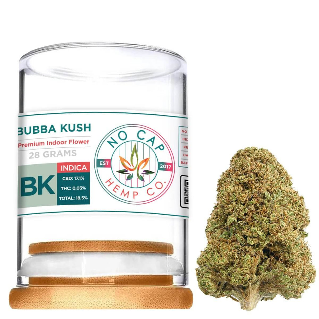 Bubba Kush Indoor Hemp Flower - 28 Gram Jar 1oz - No Cap Hemp Co. - HempWholesaler.com