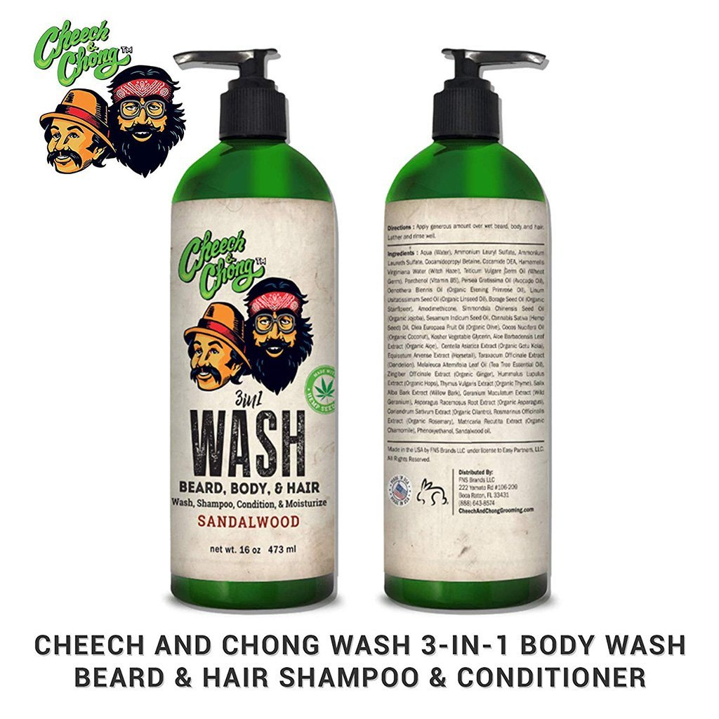 Cheech and Chong 3 in 1 Body Wash - Beard and Hair Shampoo and Conditioner - 16oz - HempWholesaler.com