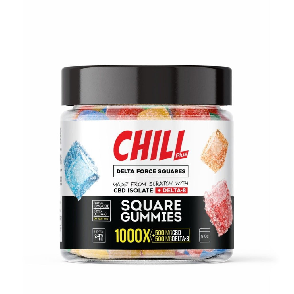 Chill Plus Delta Force Squares Gummies - Delta 8 - New Flavors - HempWholesaler.com