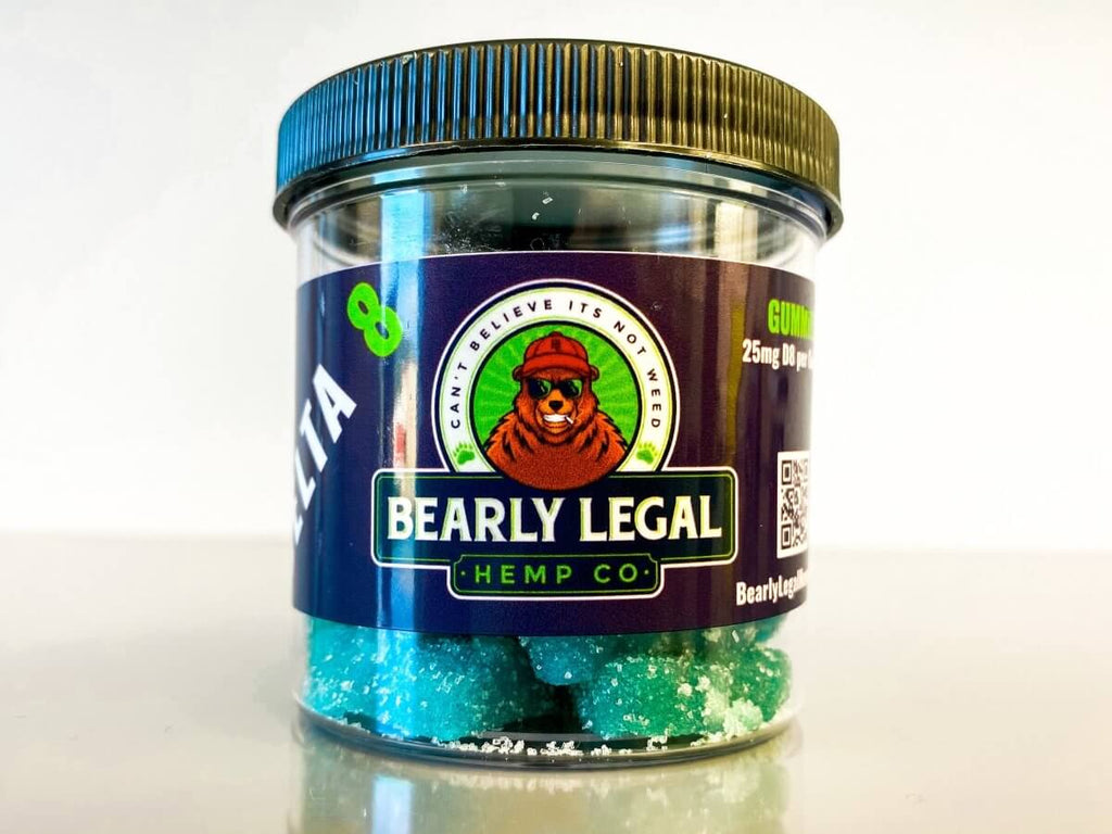 Bearly Legal Hemp Delta 8 THC 25mg Gummies (600mg D8) - 24 pack - Blueberry NEW