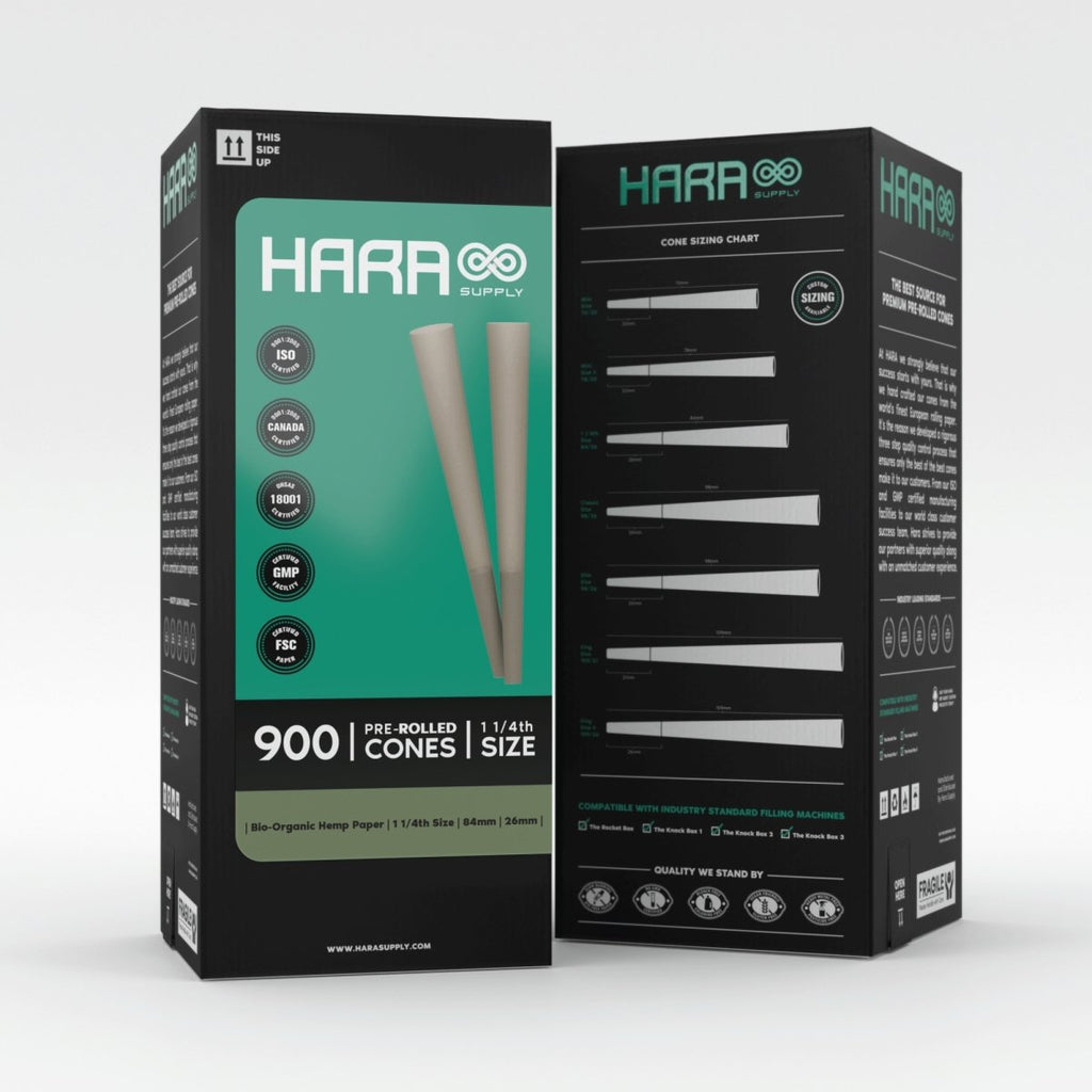 Hara Bio-Organic Hemp Pre-Rolled Cones 1 1/4th 900 Count (84mm/26mm) - HempWholesaler.com