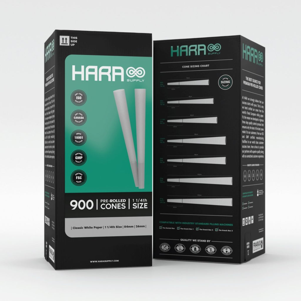 Hara Classic White Pre-Rolled Cones 1 1/4th 900 Count (84mm/26mm) - HempWholesaler.com