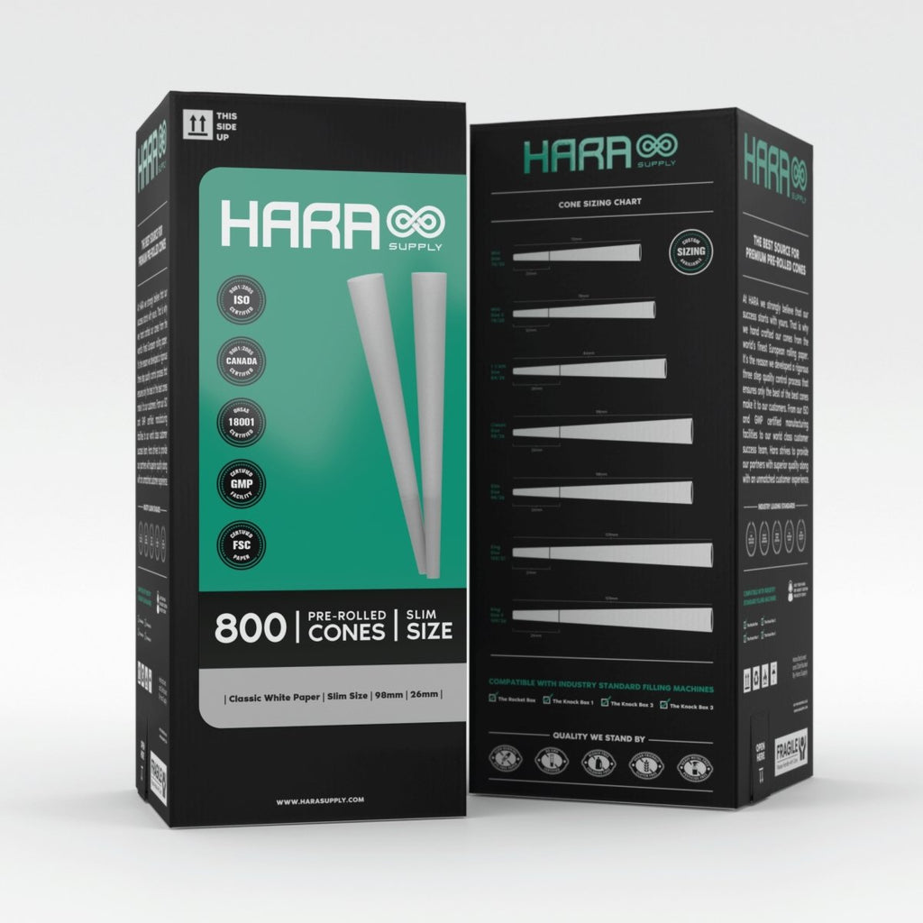 Hara Classic White Slim Pre-Rolled Cones Reefer Size 800 Count (98mm/26mm) - HempWholesaler.com