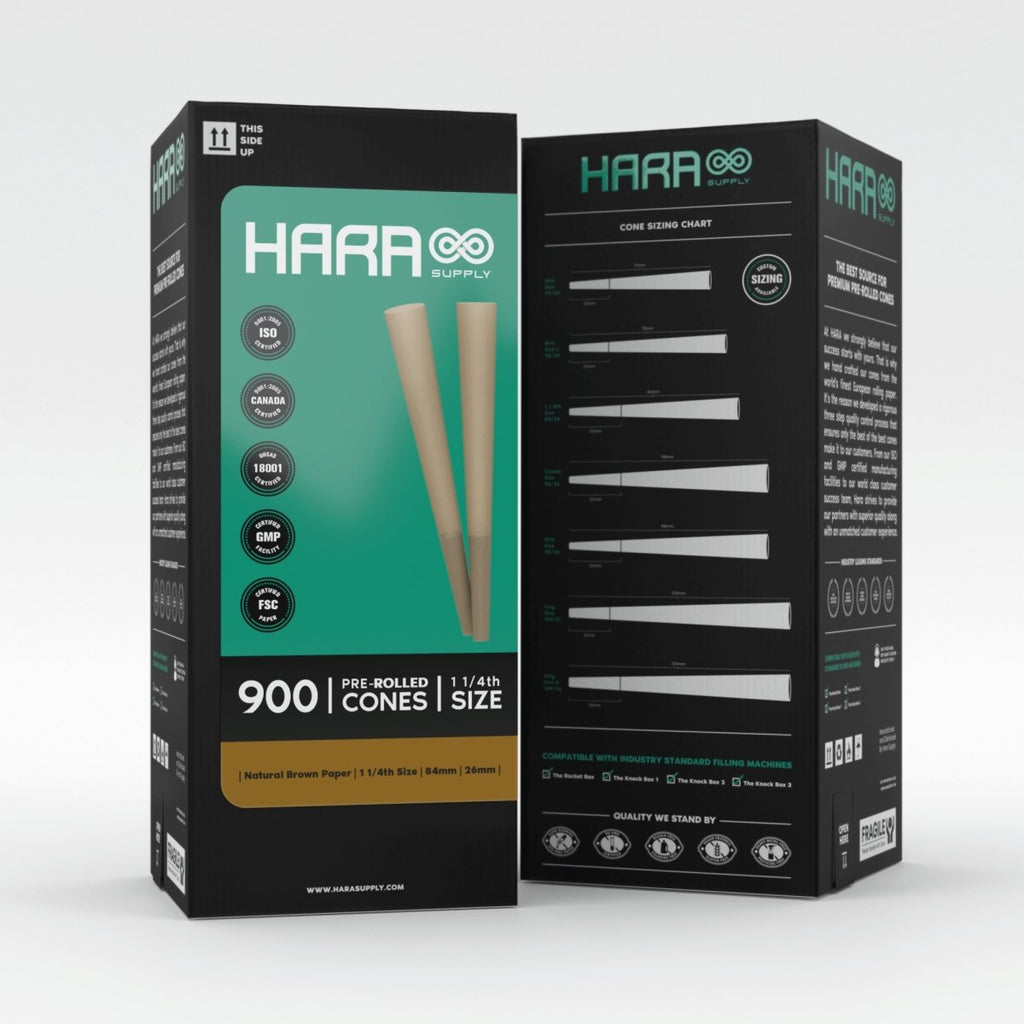 Hara Natural Brown Pre-Rolled Cones 1 1/4th 900 Count (84mm/26mm) - HempWholesaler.com