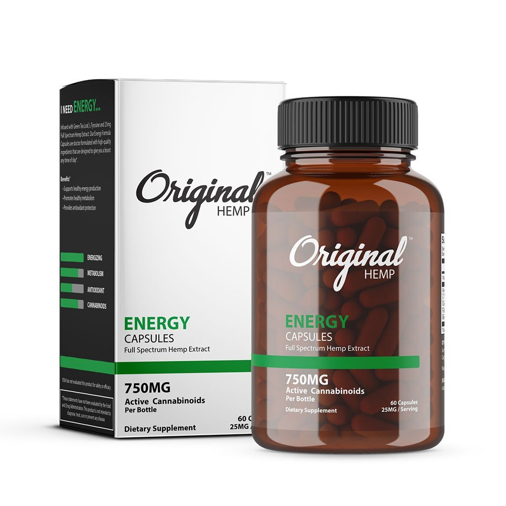 Original Hemp Energy Capsules 750mg - 60ct - HempWholesaler.com