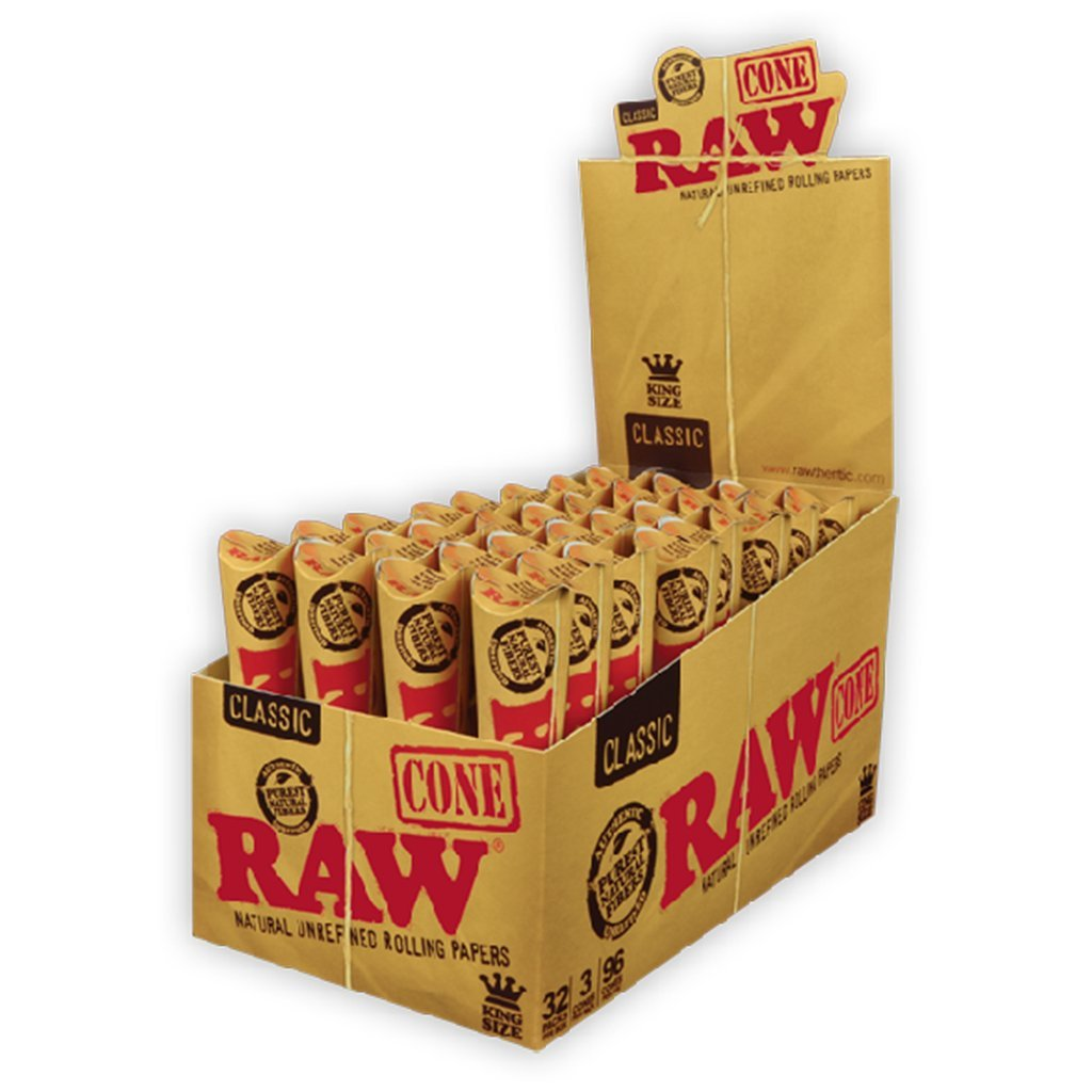 Raw Classic Kingsize Cones - Box of 32 - HempWholesaler.com