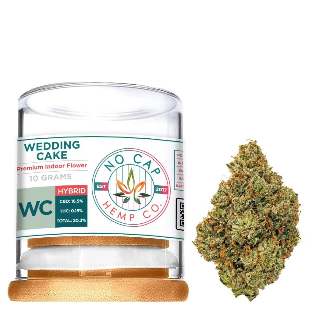 Wedding Cake Indoor Hemp Flower - 10 Gram Jar - No Cap Hemp Co. - HempWholesaler.com