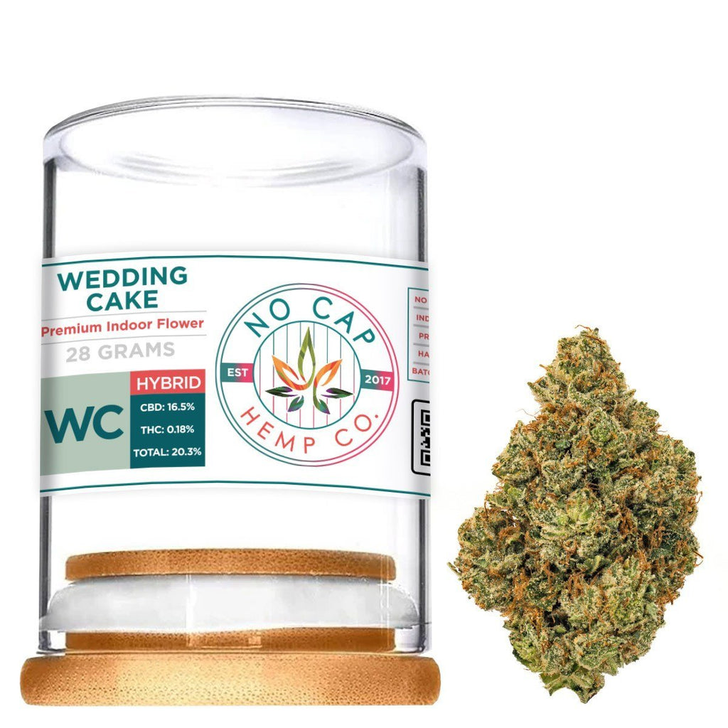 Wedding Cake Indoor Hemp Flower - 28 Gram Jar 1oz - No Cap Hemp Co. - HempWholesaler.com