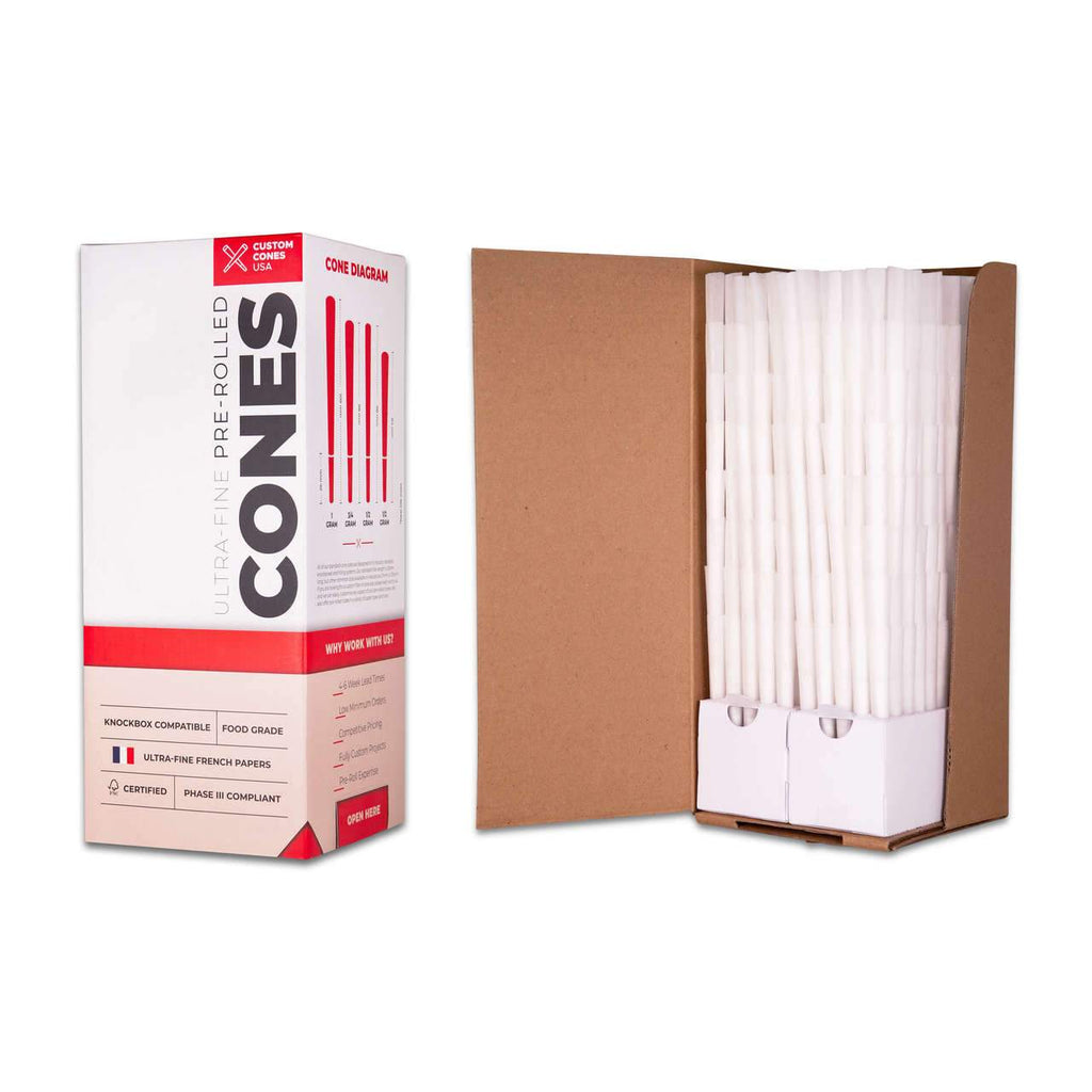 Wholesale 109mm 1G Pre-Rolled Cones - Refined White [800 Cones per Box] - HempWholesaler.com