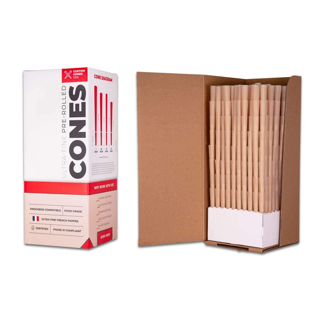 Wholesale 109mm 1G Pre-Rolled Cones - Unrefined Brown [800 Cones per Box] - HempWholesaler.com