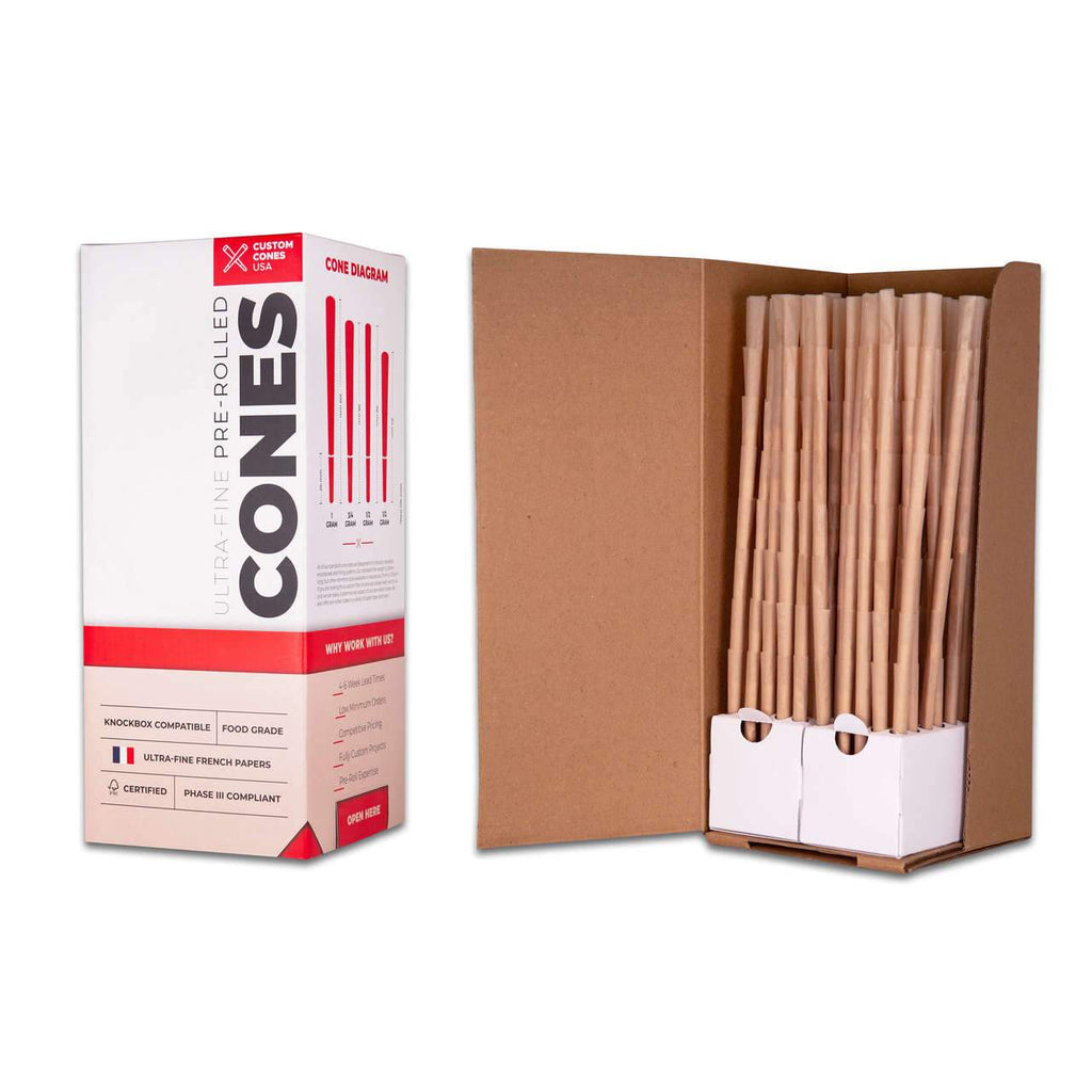 Wholesale 98mm Slim 1/2G Pre-Rolled Cones - Refined Brown [800 Cones per Box] - HempWholesaler.com