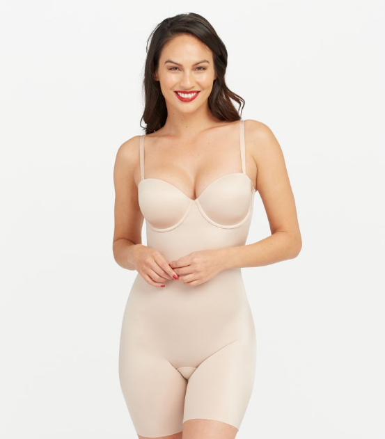 Spanx Suit Your Fancy Strapless Cupped Mid-Thigh Bodysuit 10156R