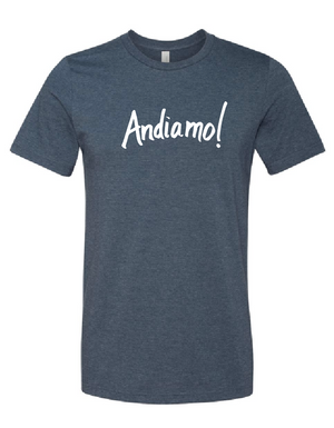 """Andiamo!"" Unisex Heather Navy T-Shirt"