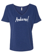 """Andiamo! Women's Relaxed Jersey V-Neck Tee - Heather Navy 6405"