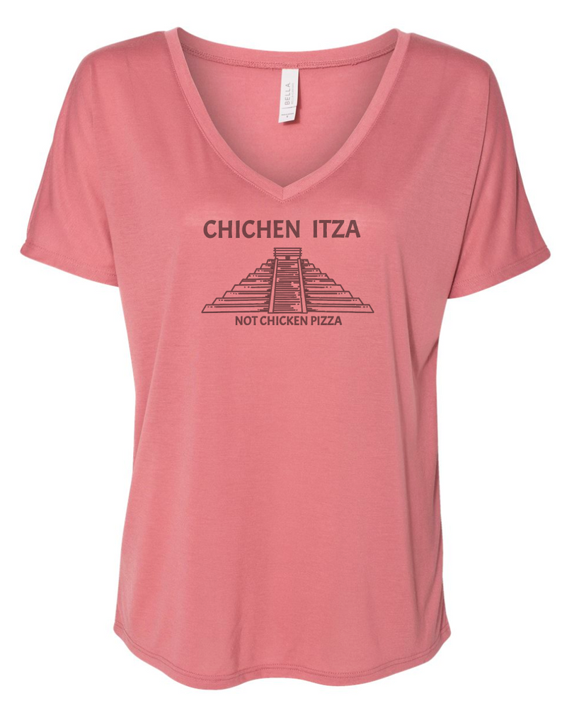 "Chichen Itza ""Not Chicken Pizza"" Women's Relaxed Jersey V-Neck Tee - Mauve 8815"