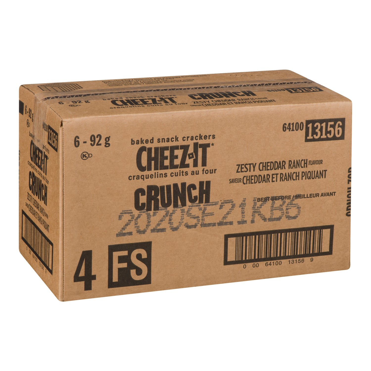 Kellogg's Cheezit Crunchy Cheddar Cracker Ranch Flavour 92 g - 6 Pack [$1.33/each]