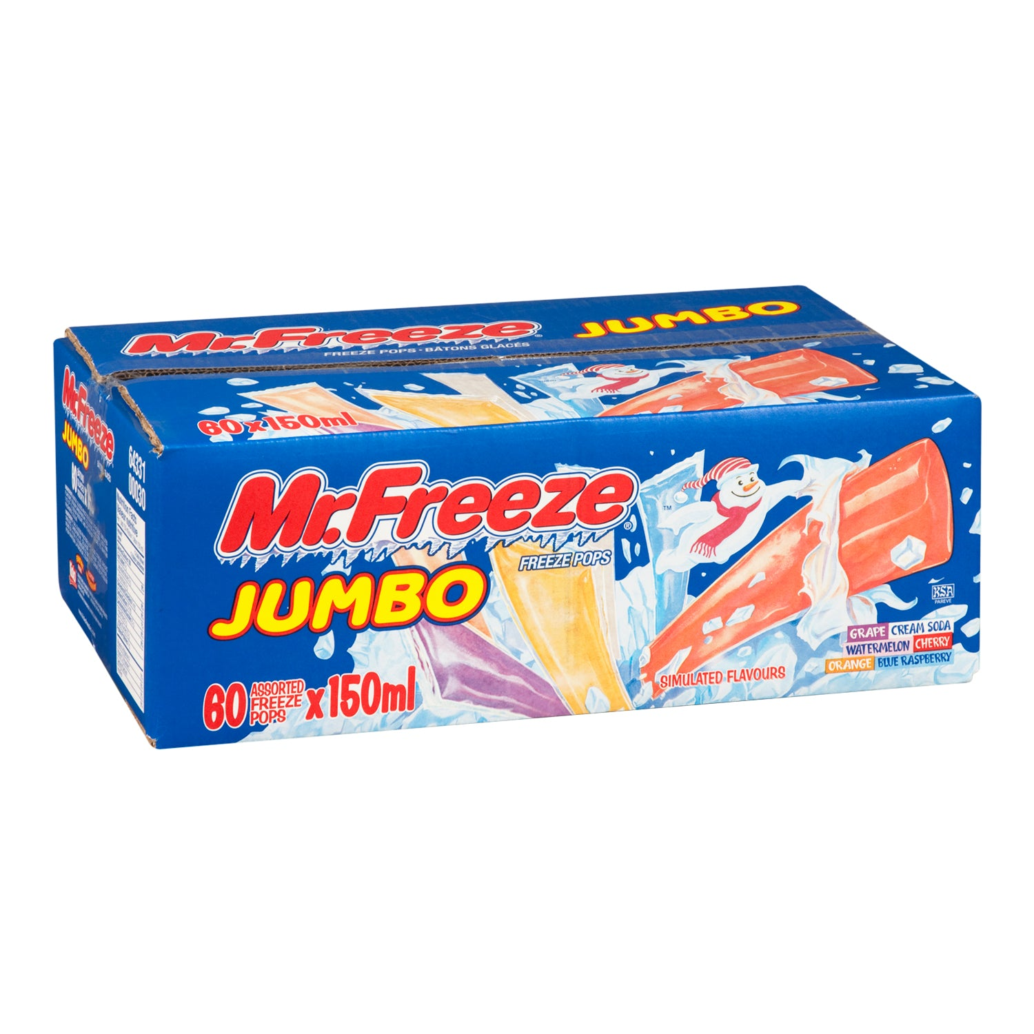 Mr Freeze Assorted Jumbo Popsicles 150 ml - 60 Pack [$0.33/each]