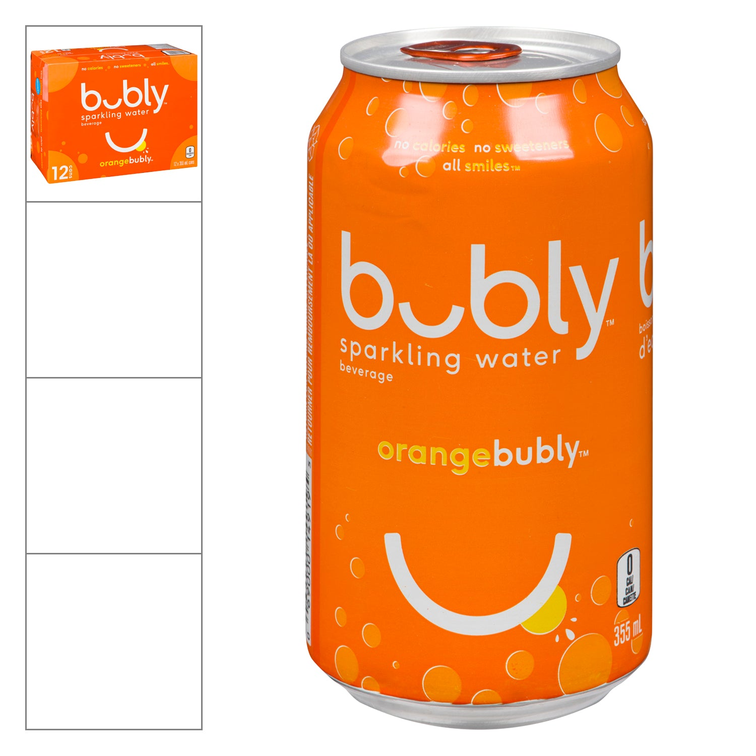 Bubly Orange Flavoured Sparkling Water Beverage 355 ml - 12 Pack [$0.44/each]