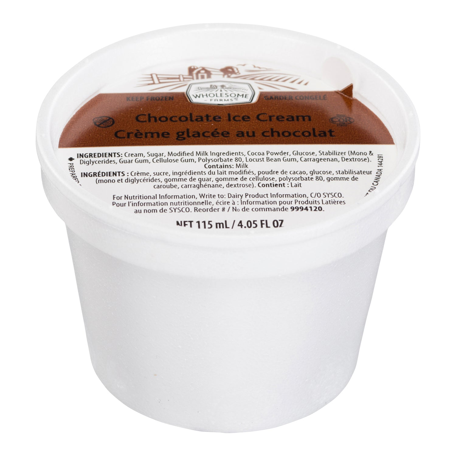 Wholesome Farms Chocolate Sundae Ice Cream Cups 115 ml - 48 Pack [$0.46/cup]