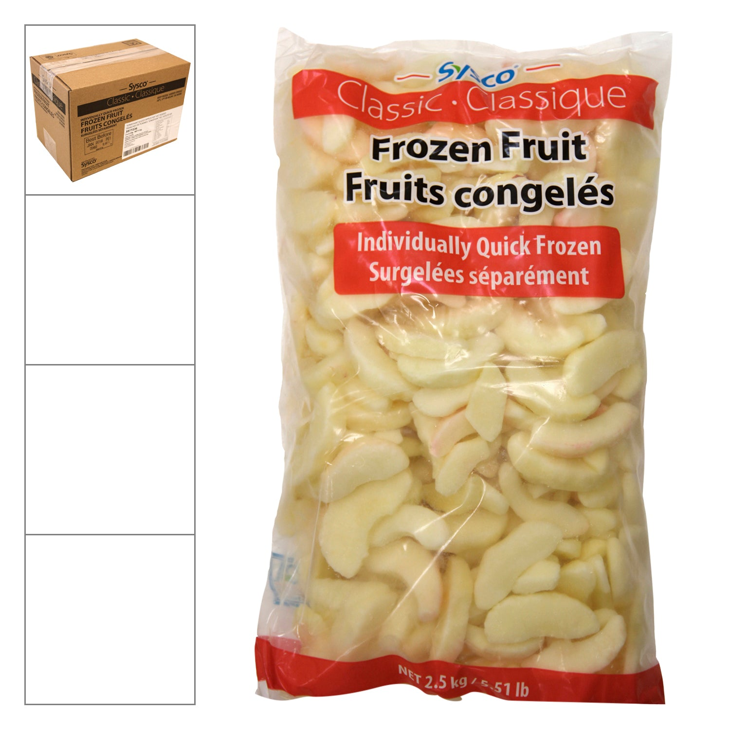 Sysco Classic Individually Quick Frozen Sliced Jonathan Apples 2.5 kg - 2 Pack [$7.00/kg]