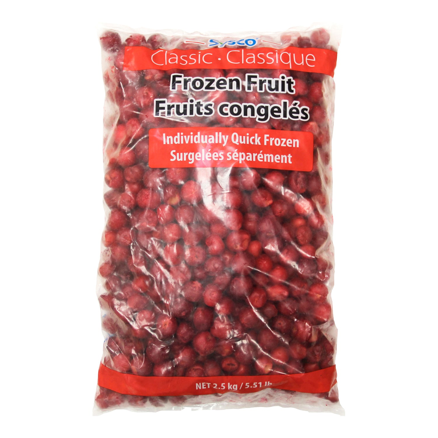 Sysco Classic Individually Quick Frozen Pitted Sour Cherries 2.5 kg - 2 Pack [$6.00/kg]