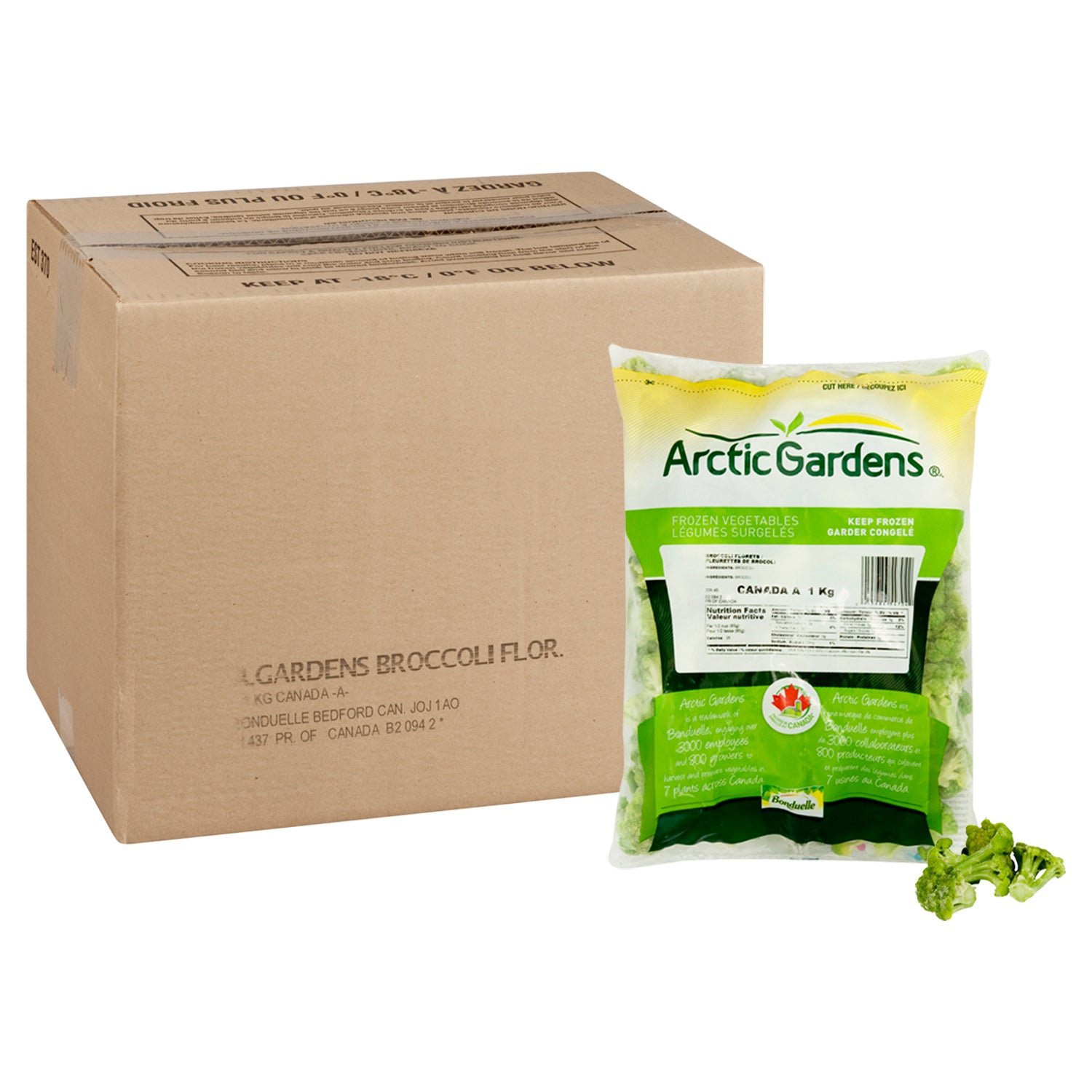 Arctic Garden Frozen Broccoli Florets 1 kg Value Size - 8 Pack [$5.37/kg]