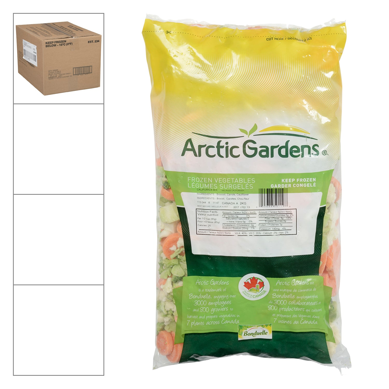 Arctic Garden Frozen California Blend Vegetable Mix (Cauliflower/Broccoli/Carrot) 2 kg - 6 Pack [$4.08/kg]