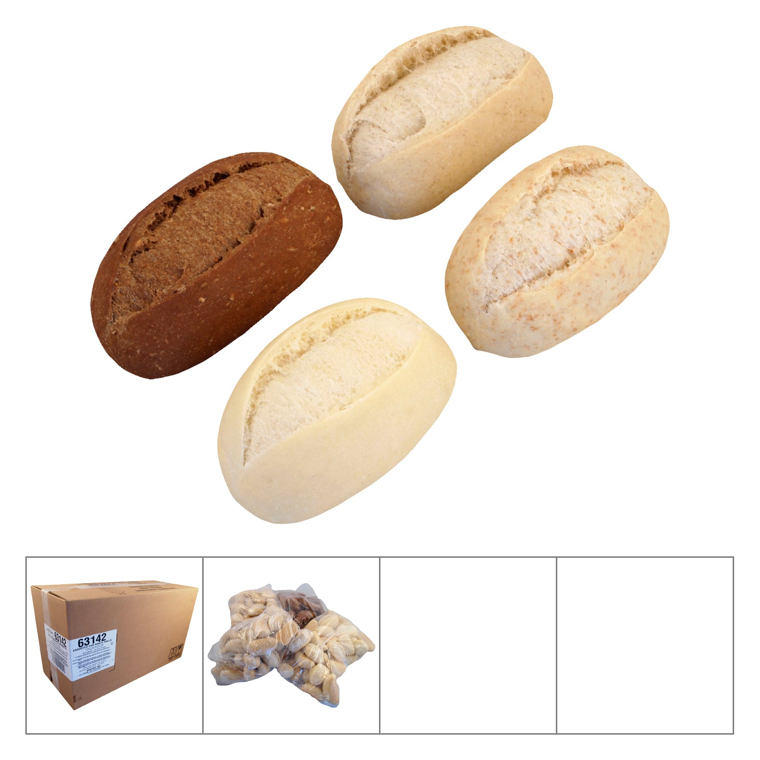 Bridor Frozen Assorted French Rolls (Pumpernickel/Whole Wheat/Rye) 45 g - 144 Pack [$0.33/roll]