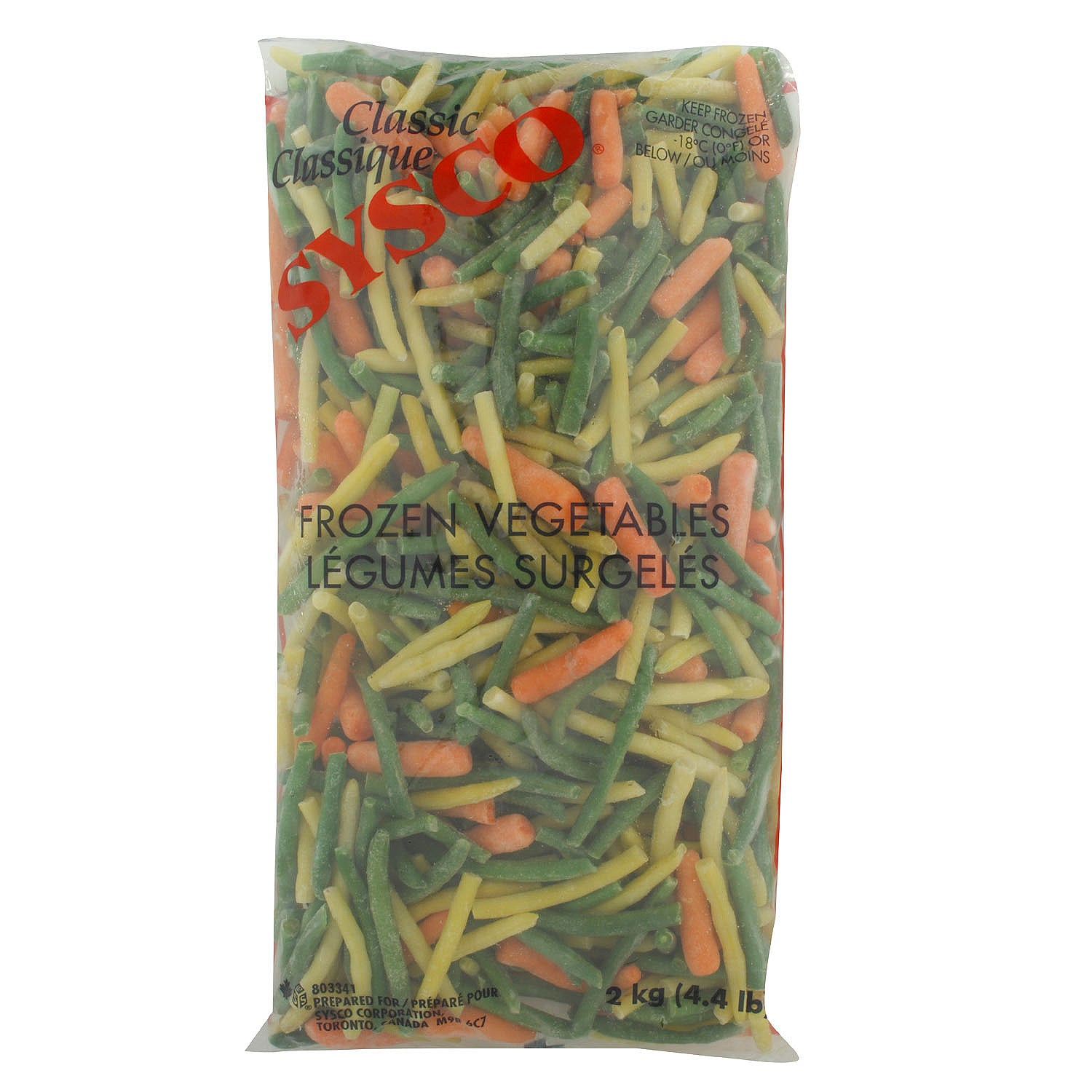 Sysco Classic Frozen Prince Edward Blend Mixed Vegetables (Green Beans/Yellow Beans/Baby Carrots) 2 kg - 6 Pack [$3.67/kg]