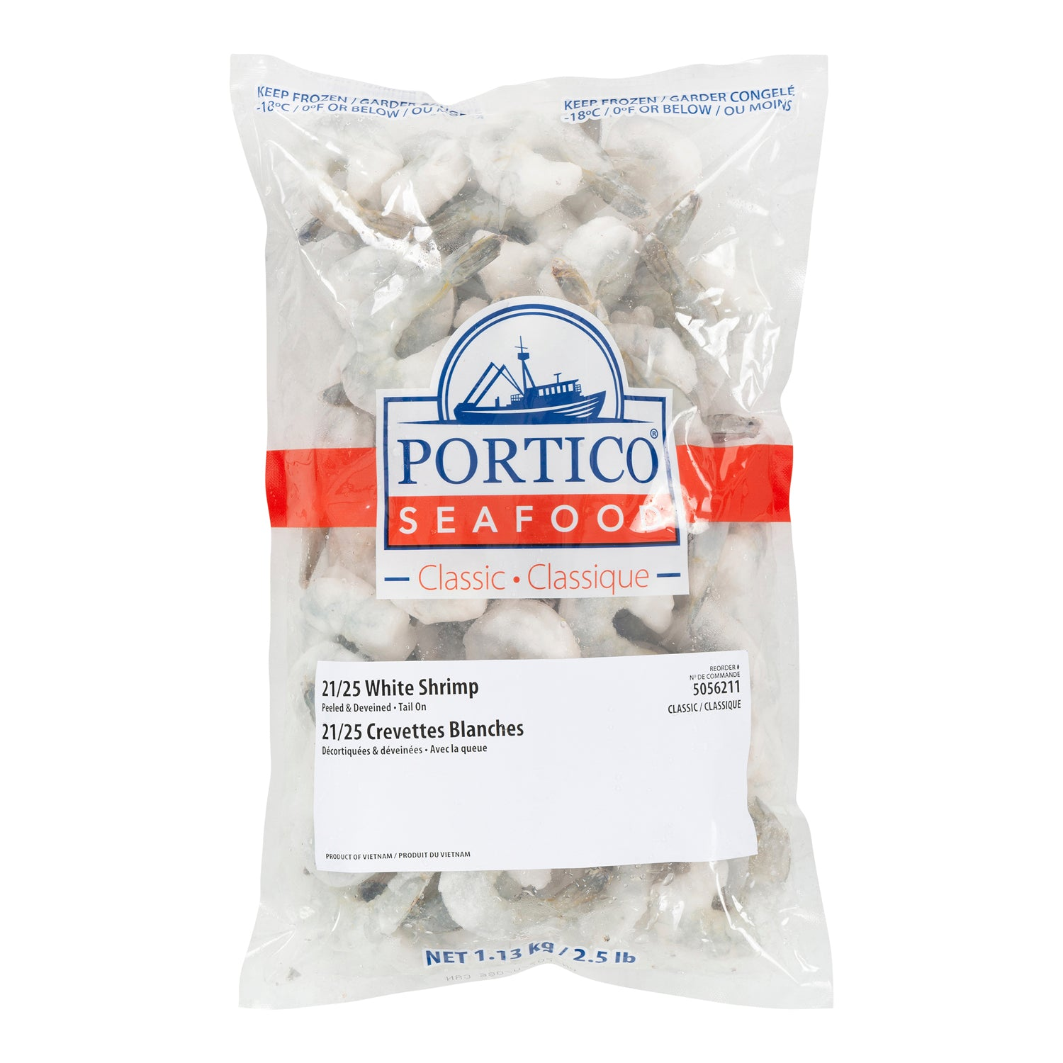 Sysco Portico Frozen Raw Jumbo White Shrimp Peeled & Deveined With Tail On (21-25 shrimp per lb) 2.5 lb - 2 Pack [$10.70/lb]