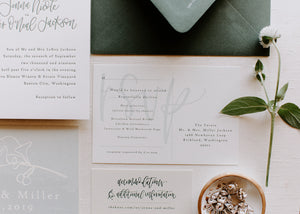 green wedding watercolor invitation