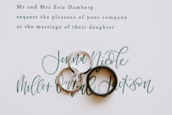 Calligraphy letterpress wedding invitation