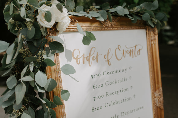 Hand-painted watercolor wedding sign