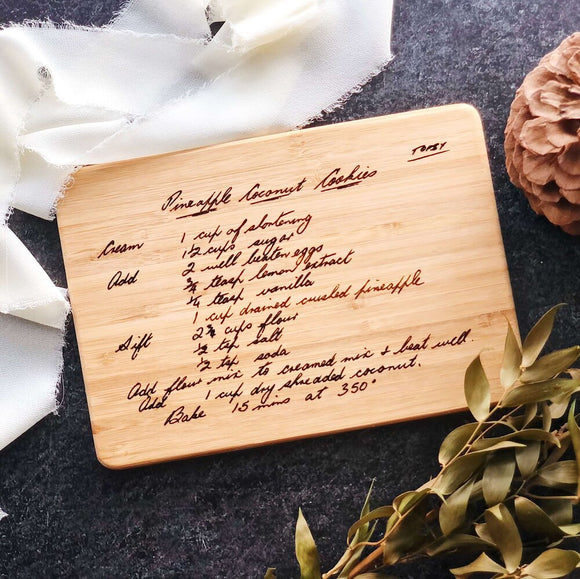 Heirloom Gift, Engraved Recipe Cheese Board