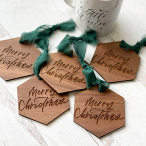 Merry Christmas Ornaments - Walnut and Green