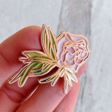 boho florals enamel pin rose gold