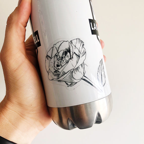 rose on waterbottle