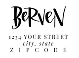 hand lettered address stamp