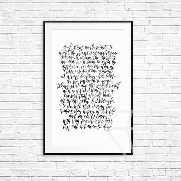 Serenity Prayer Print (Complete Prayer)