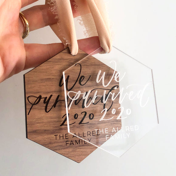 We Survived 2020 Ornaments - Engraved Clear