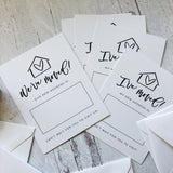 (Set) Moving Announcement Cards + Hand-Lettered Personalized Stamp (Wooden OR Self-Inking)