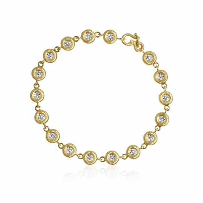 Balloon bracelet. With 15 brilliant cut diamonds. Total 1,65 ct. F/G, vs2.
