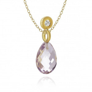 Glory pendants. With amethyst and 1 brilliant cut diamond. Total 0,11 ct. F/G, vs2.