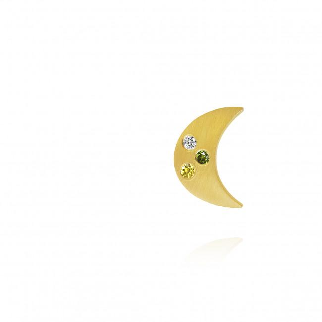 Luna earrings. With 1 brilliant cut diamonds and 2 colored brilliant cut diamonds. I alt 0,025 ct. 1 x F/G, vs, Ex. cut, 1 x Emerald Green, 1 x Golden Yellow, Venstre.
