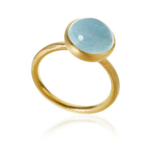 Pacific ring. Large top, with aquamarine.