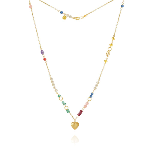 Piccolo Bloom necklace. With emerald, ruby, guava quartz, kyanite, freshwater pearls, citrine, coral and amethyst, 43 cm.