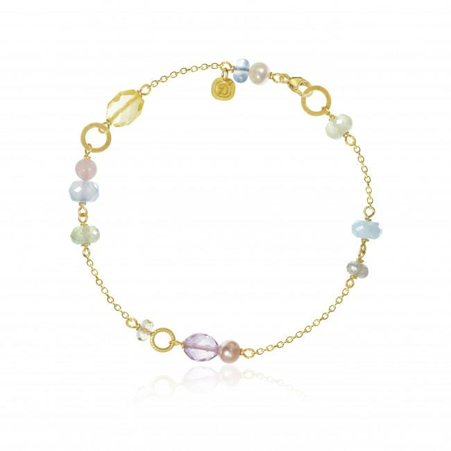 Piccolo bracelet. With aquamarine, chalcedony, citrine, lemon quartz and guava quartz.