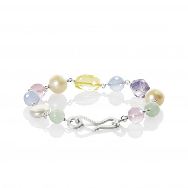 Piccolo bracelet. SS19 LTD. Edition. With amethyst, lemon quartz, rose quartz and freshwater pearls.