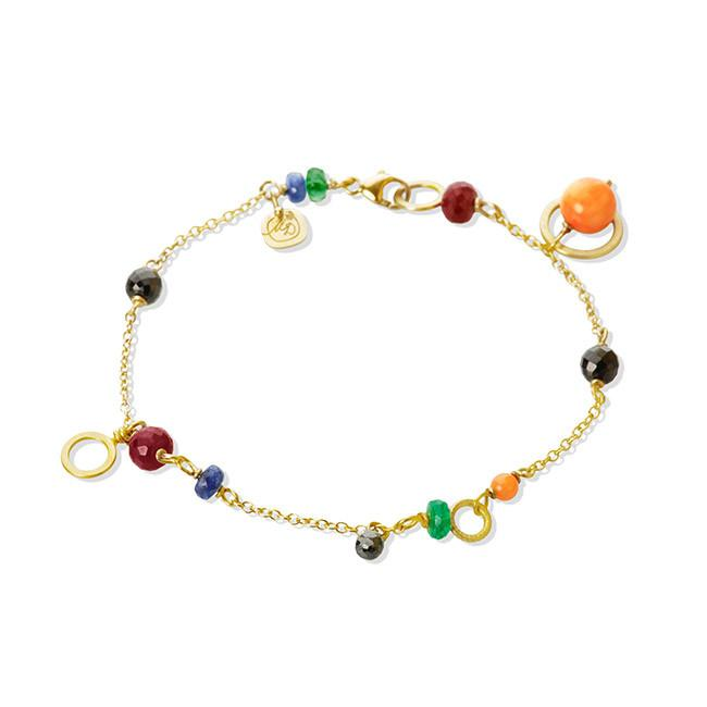 Piccolo bracelet. With 1 black diamant. 0,30 ct. Coral, spinel, sapphire, ruby and emerald.