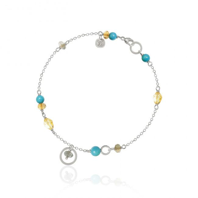 Piccolo bracelet. With turquoise, citrine, labradorite and sapphire.